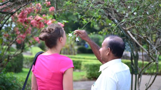 Susan Harney with Jaya at Peradeniya Botanical Gardens